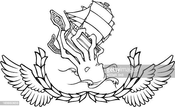 Black and White Sea Monster Crest