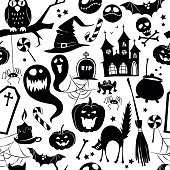 Black and white seamless background abstract pattern for halloween