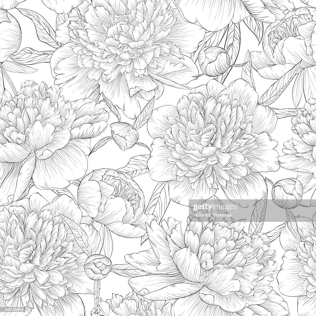 black and white seamless background. peonies with leaves and bud.