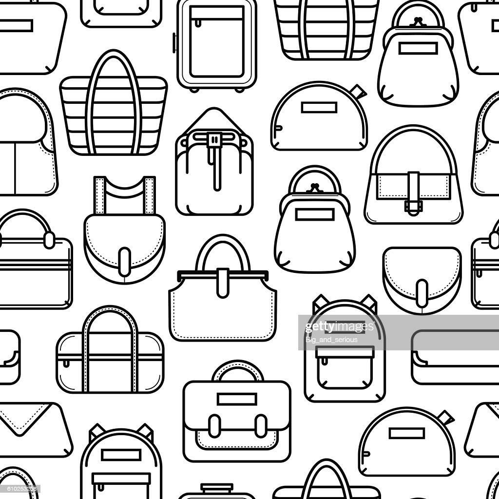 Black and white seamless background with fashion bag line icons