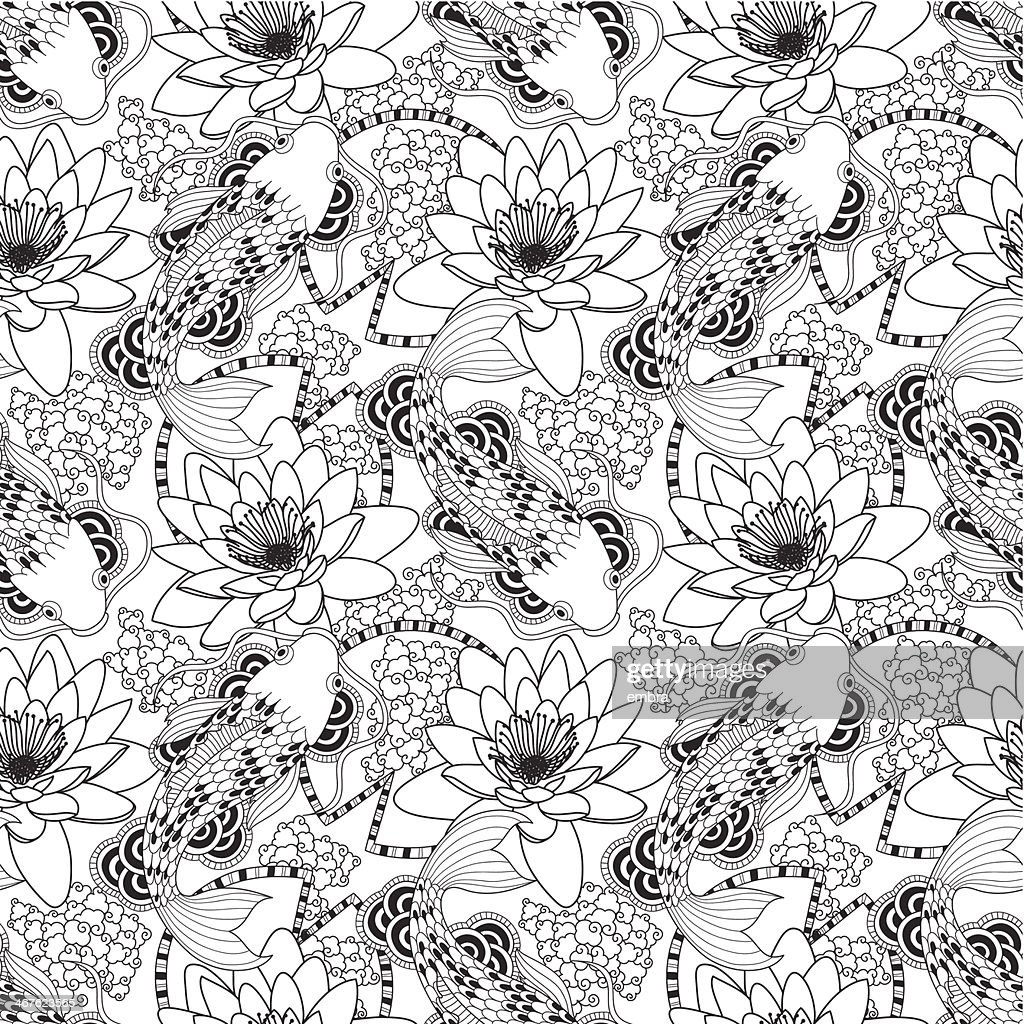 Black and white seamless koi and lotus pattern