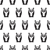 Black and white seamless owl pattern.