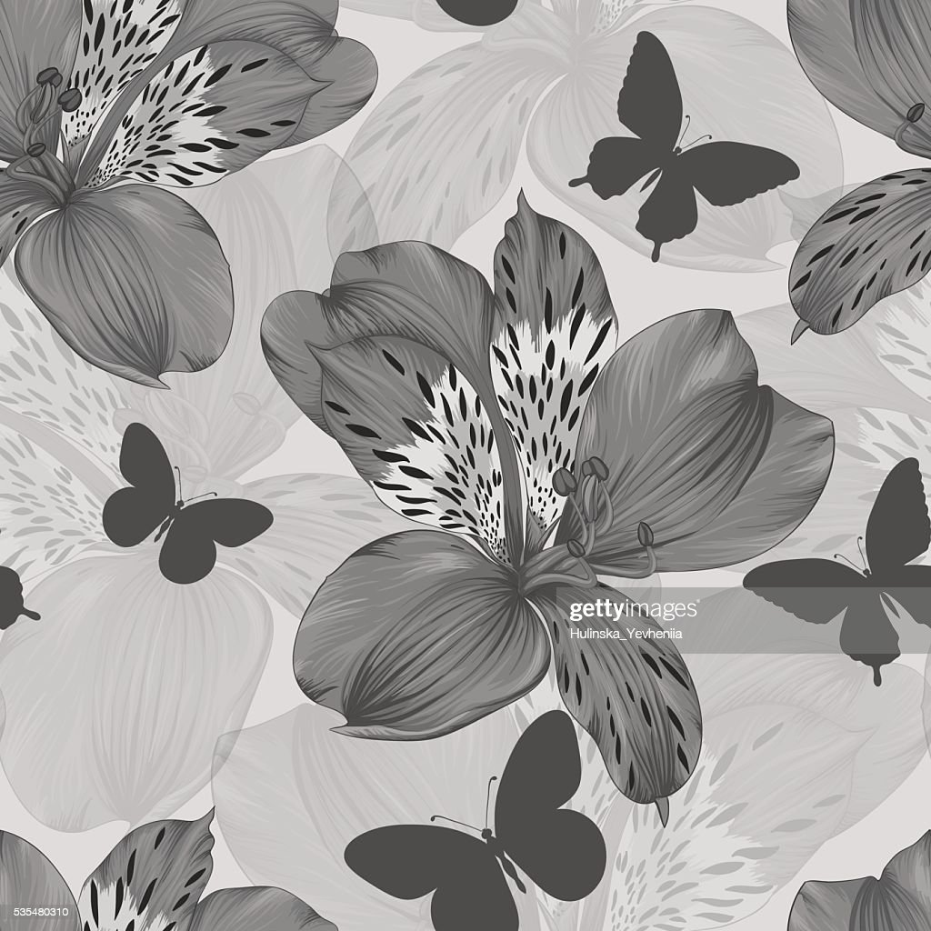 black and white seamless pattern alstroemeria and silhouettes of butterflies