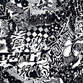 Black and white seamless pattern graffiti, sticker bombing.