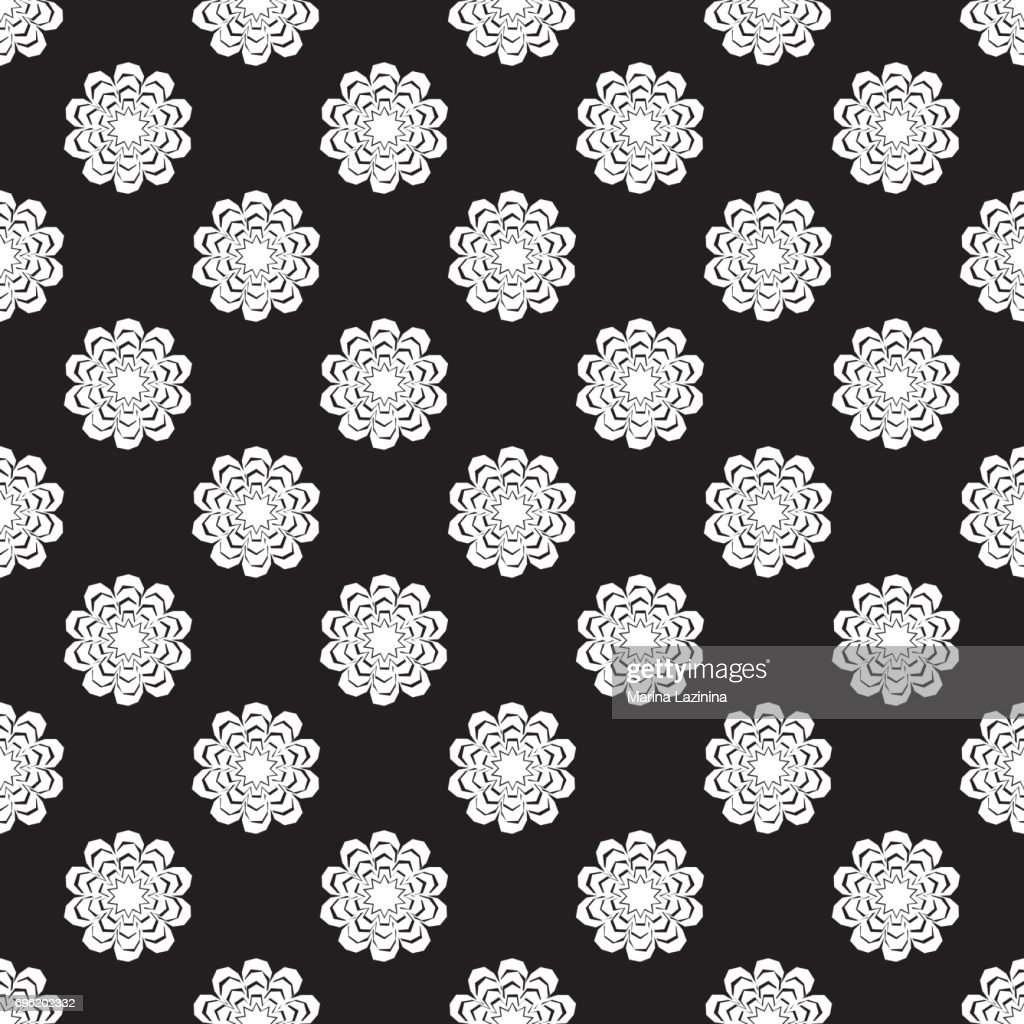 Black And White Seamless Pattern Of Lace Flowers Vector Illustration