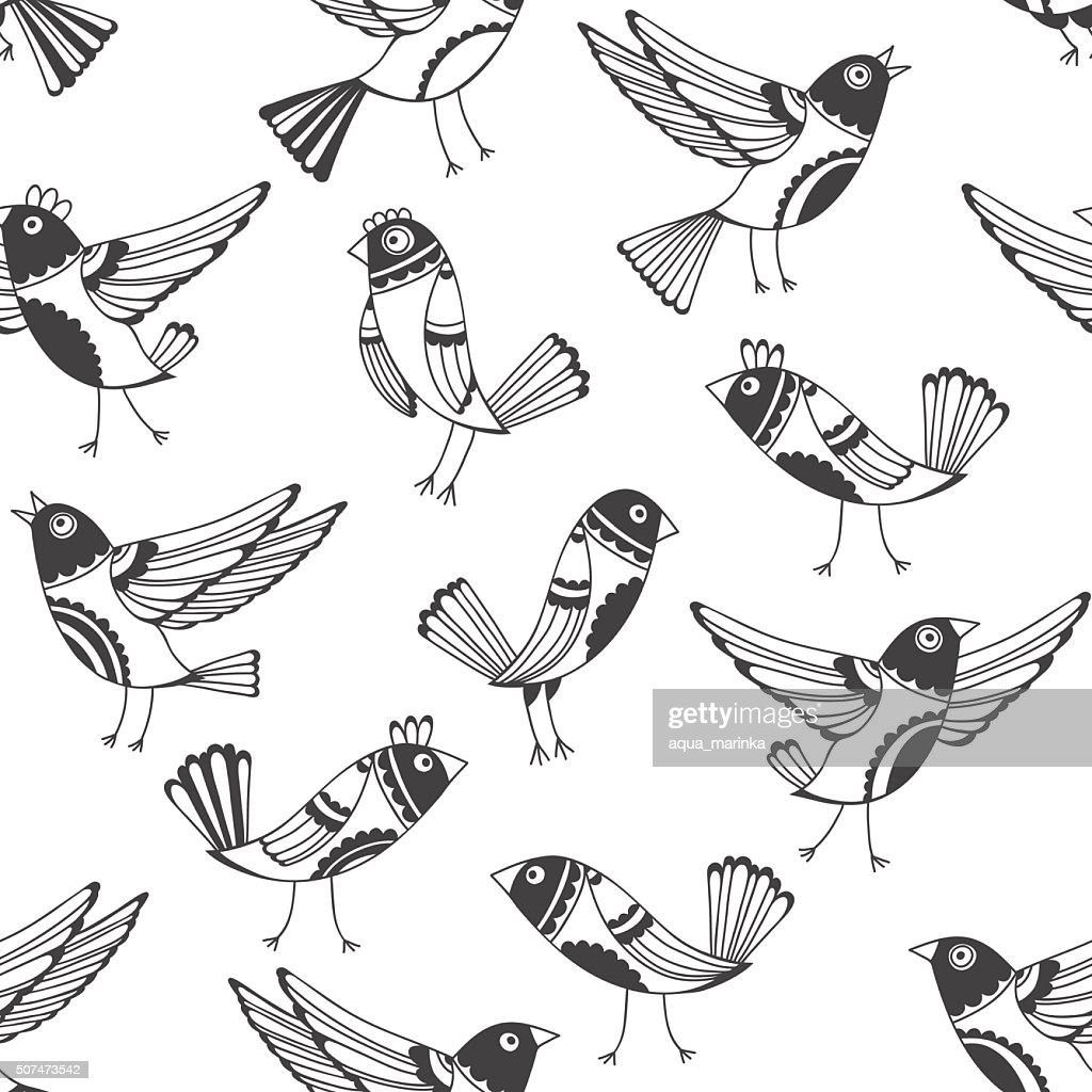 Black and white seamless pattern with cartoon birds.