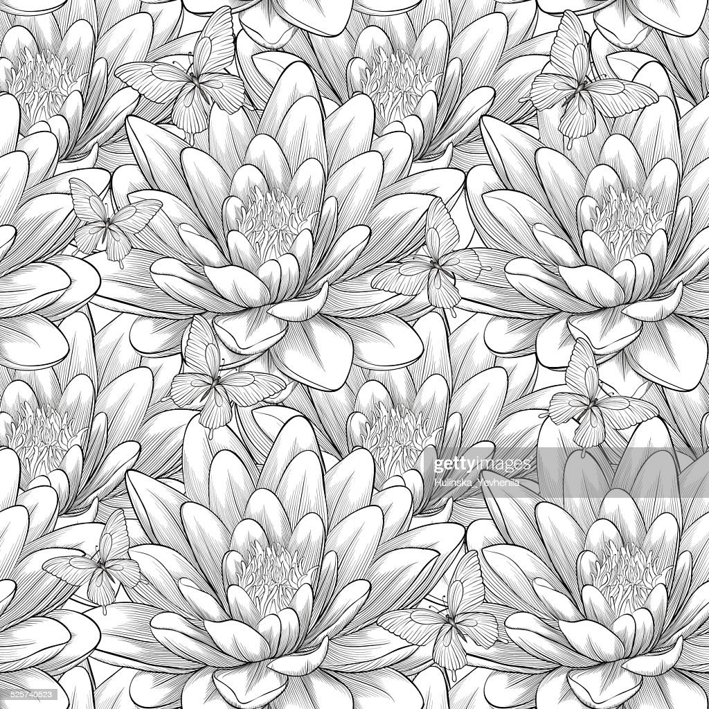 black and white seamless pattern with lotus flowers