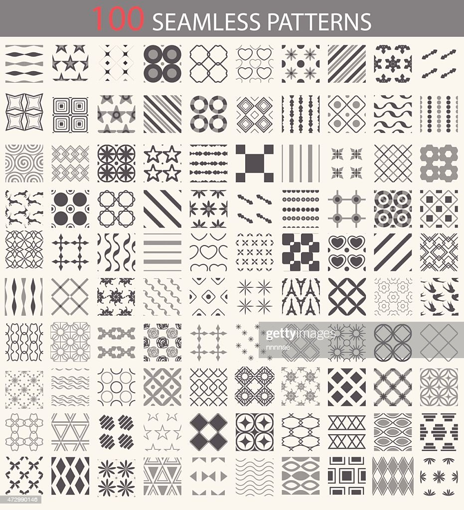 100 black and white seamless patterns