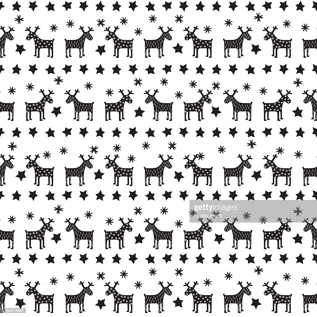 Black and white seamless retro Christmas pattern