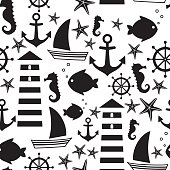 Black and white seamless sea pattern: sailboat, lighthouse, fish, anchor