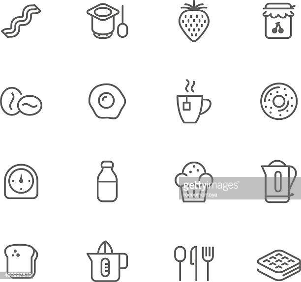 Black and white set of icons of breakfast items