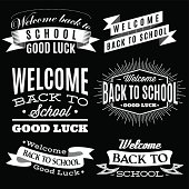 Black and white set of labels on back to school