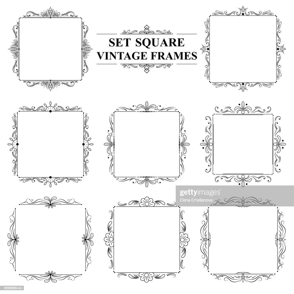 black and white set of vintage elegant square frames with floral ornament