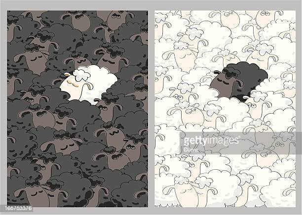 black and white sheeps - sheep stock illustrations, clip art, cartoons, & icons