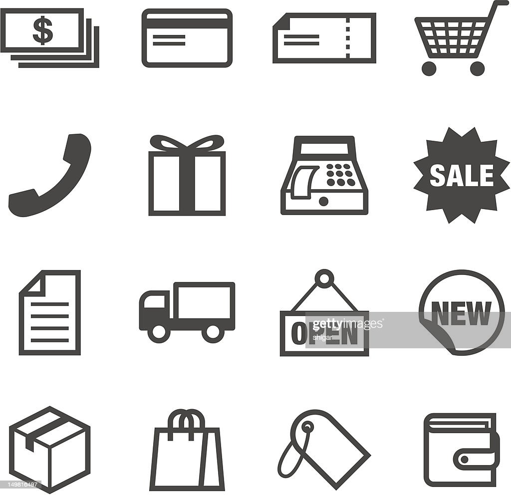 16 black and white shopping icons
