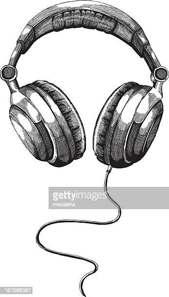 Black and white shot of headphones isolated in white