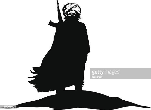 a black and white silhouette of a terrorist - terrorism stock illustrations