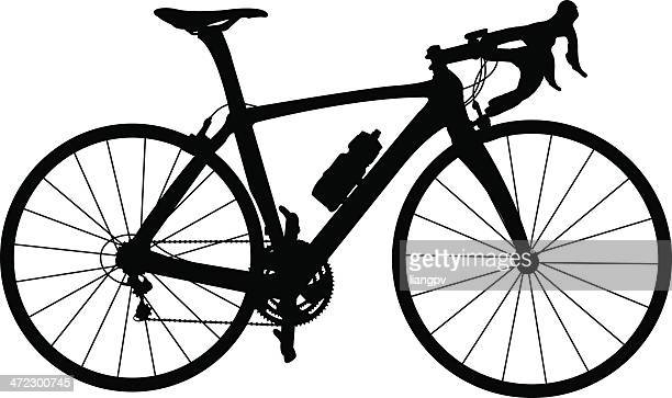 black and white silhouette of racing bicycle - racing bicycle stock illustrations