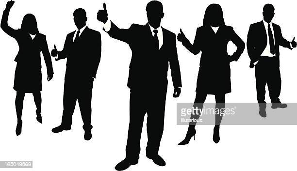 black and white silhouettes of business people - looking at camera stock illustrations, clip art, cartoons, & icons