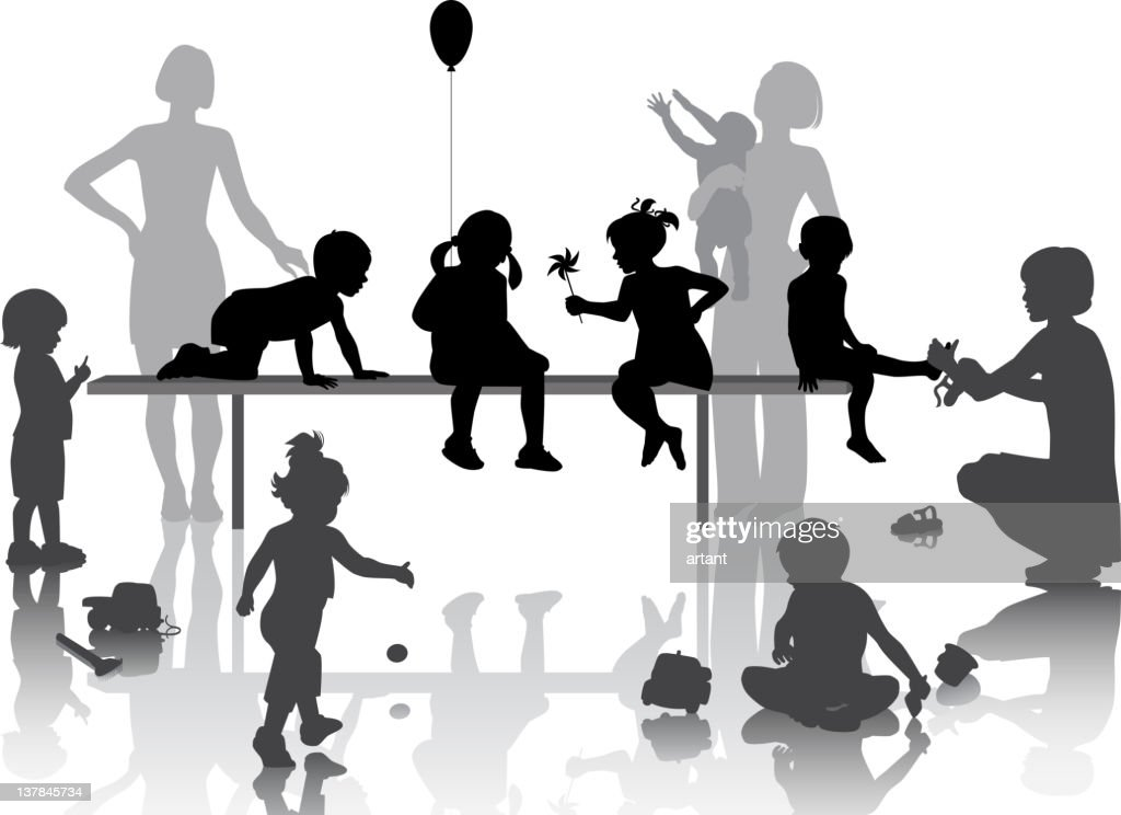 Black and white silhouettes of children playing