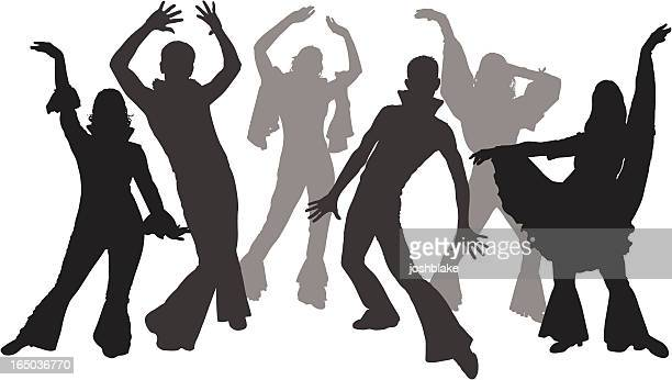 Black and white silhouettes of dancers wearing flares
