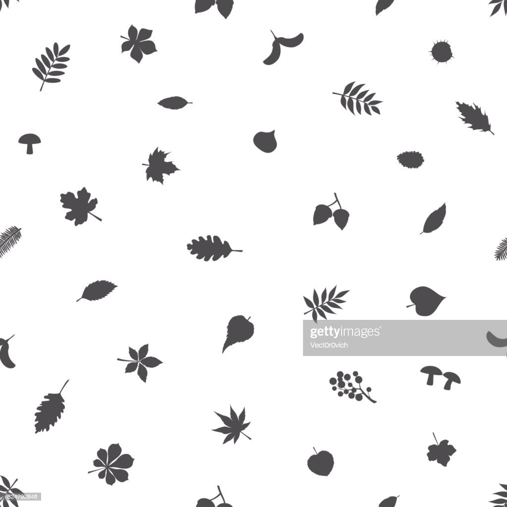 black and white simple pattern with forest autumn fall leaves