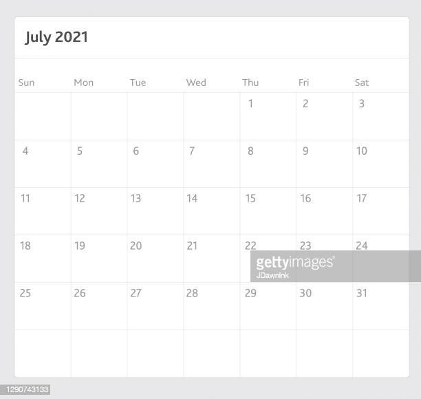 black and white simple vertical 2021 year calendar pad month of july - july stock illustrations