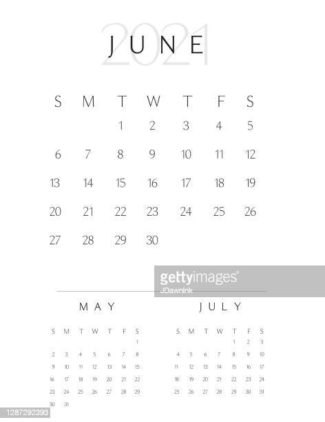 black and white simple vertical 2021 year calendar pad month of june - june stock illustrations