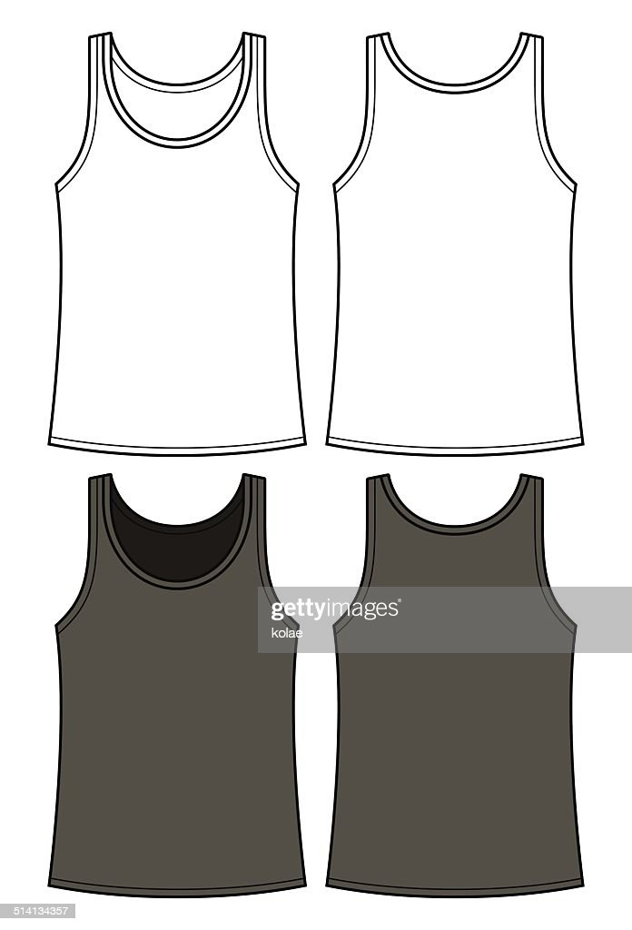 Black and white singlet template - front and back