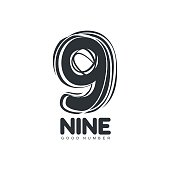 Black and white sketch style number nine logo template