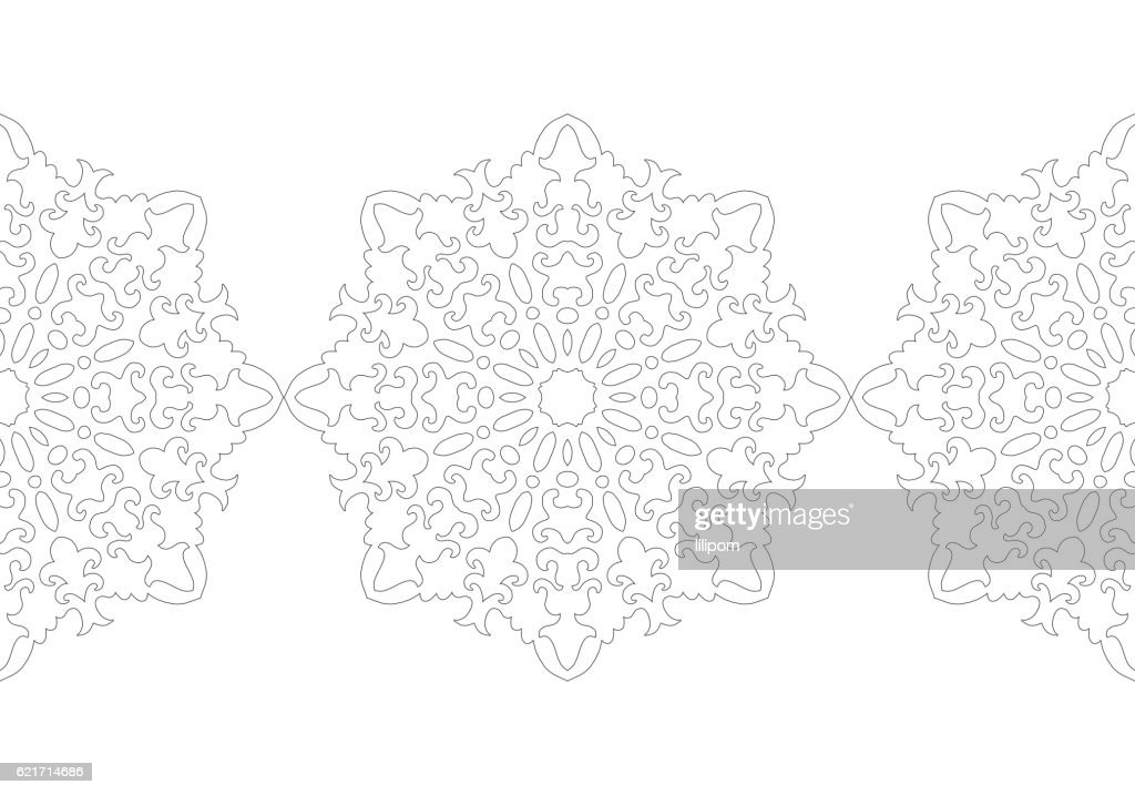 Black And White Snowflake For Coloring Book Christmas Festive ...