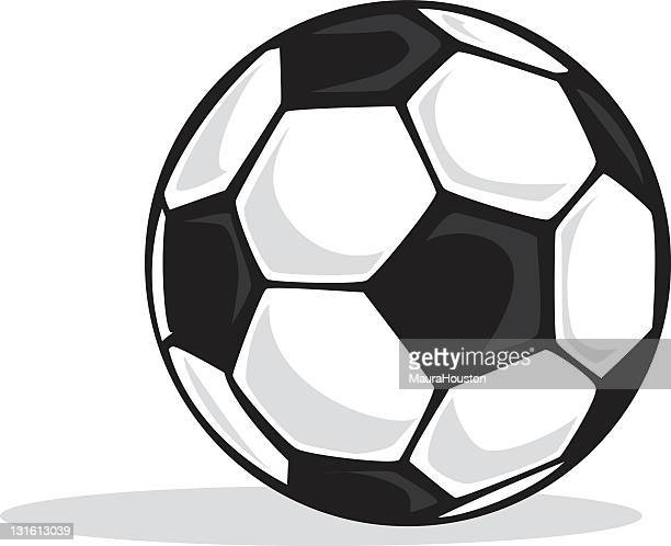 black and white soccer ball with shadows - soccer ball stock illustrations