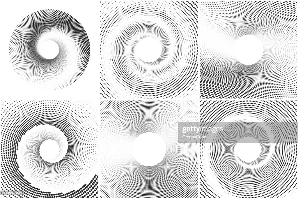 Black and white spiral abstract halftone dots background set. Vector illustration