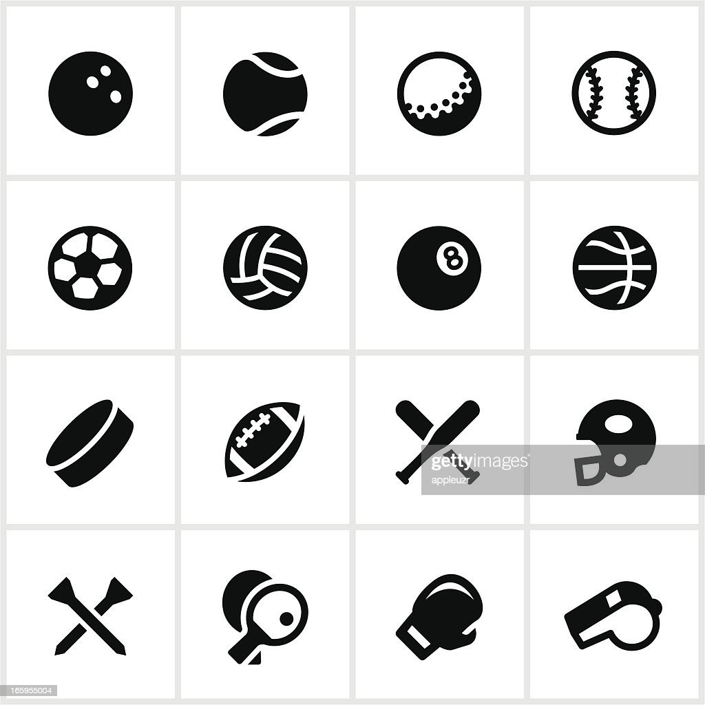 Black and white sports equipment vector icon set