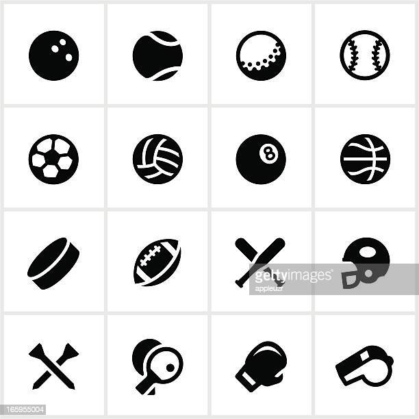 black and white sports equipment vector icon set - baseball sport stock illustrations