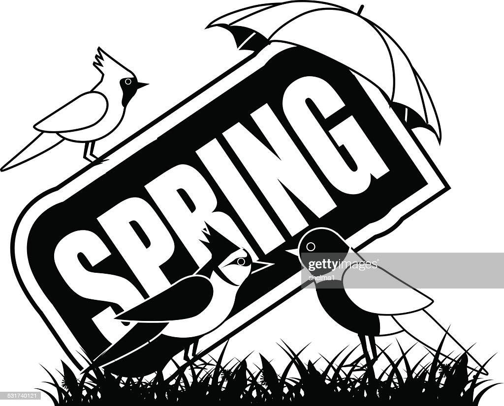 Black and white Spring icon