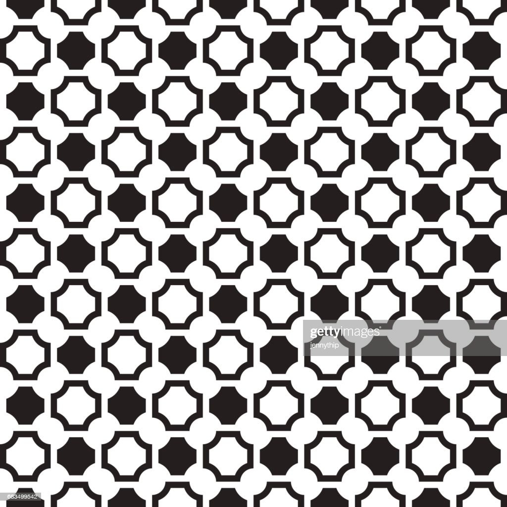 black and white squares cut off in corners pattern background