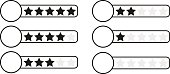 Black and white (monochrome) star rating bar with white circle where you can put your chosen graphic element