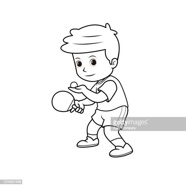 黒と白の卓球選手のイラスト サッカーをするジャンプ位置にオレンジ色のシャツと緑のズボンを身に着けています。ホームスクーリングや教師をしているママのための教材を組み立てるか、 - オレンジ色のシャツ点のイラスト素材/クリップアート素材/マンガ素材/アイコン素材