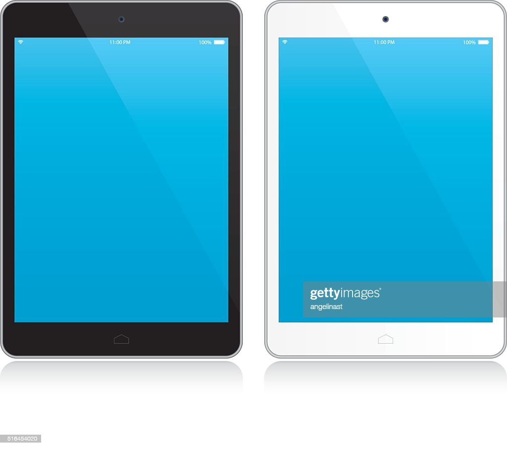 Black and white tablet with blue screen