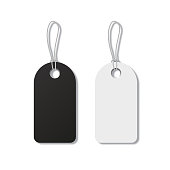 Black and white tags with strings isolated on white background. Vector realistic elements.