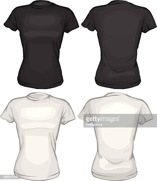 Black And White Tee Shirts VECTOR Front Back