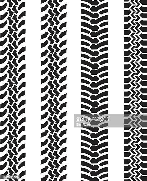 black and white tire tread comparison - tire marks stock illustrations, clip art, cartoons, & icons