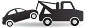 Black and white Tow and roadside assistance icon design