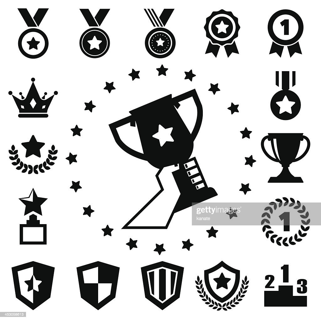 Black and white trophy and award icons