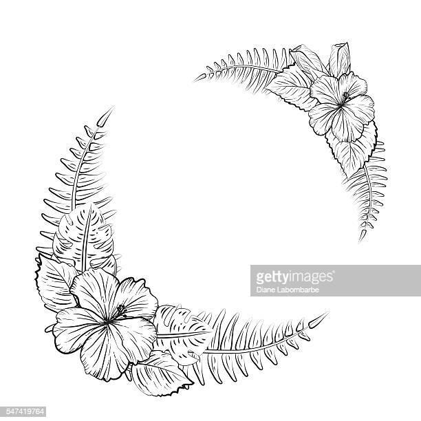 Schwarz-weiß tropischen Hibiskus Blumen-Rahmen