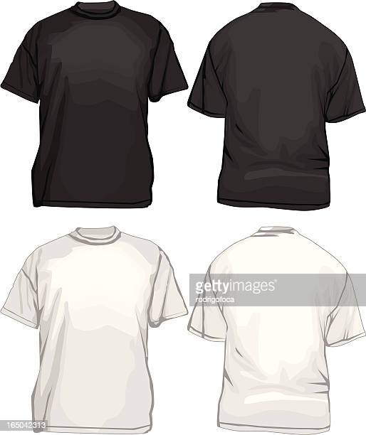 Black And White T-Shirts TemplateVECTOR Front Back
