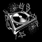 Black and white turntable on graffiti background