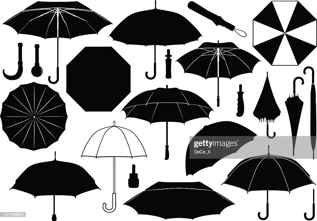 Black and white umbrella images against white background