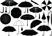 Black and white umbrella images against white background